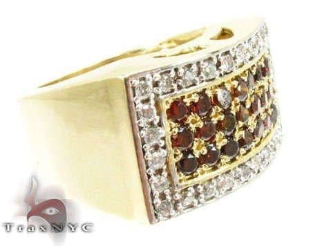 Red Diamond 5 Row Prong Ring Stone