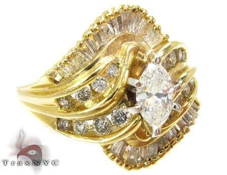 14K Yellow Gold Baguette Diamond Wave Ring Anniversary/Fashion