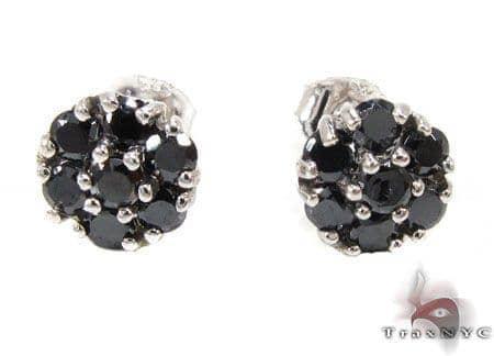 Black Diamond Cluster Earrings Stone