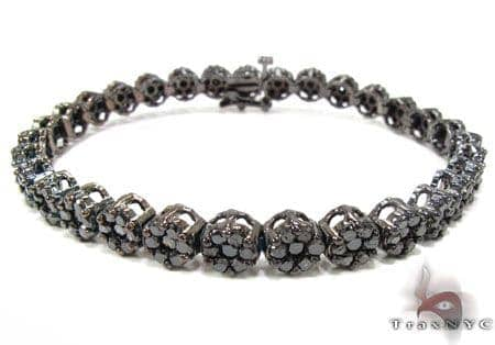 Black Diamond Cluster Flower Bracelet Diamond