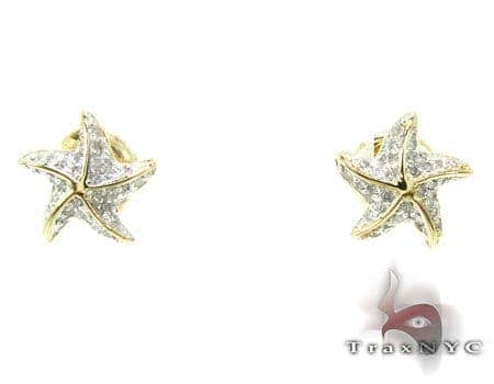 YG Starfish Earrings 2 Stone
