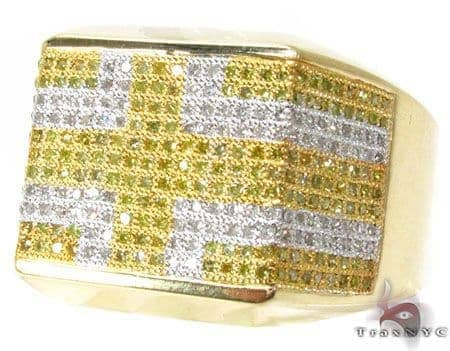 YG Canary Flat Cross Ring Stone