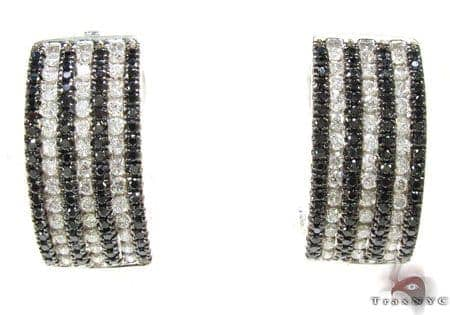 Black and White Striped Earrings Stone