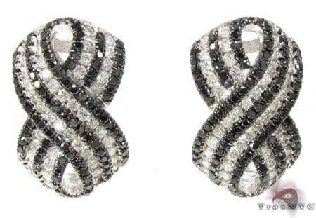 Black and White Ribbon Earrings Stone