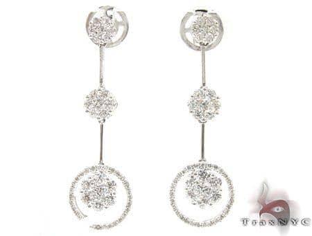 Flower Cluster Chandelier Earrings 2 Stone