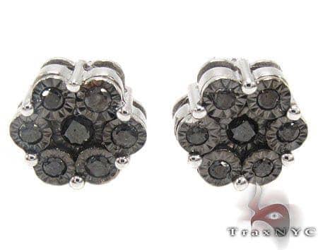 Black Cluster Earrings Stone