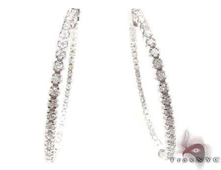 Prong Diamond Hoop Earrings Stone