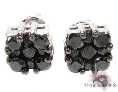 Black Berry Cluster Earrings 2 Stone