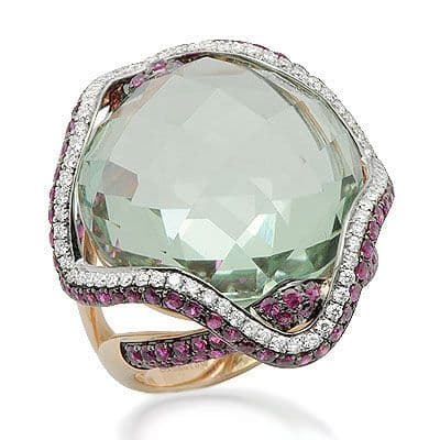 Rose Gold Sphalerite & Diamond Large Gemstone Ring Anniversary/Fashion