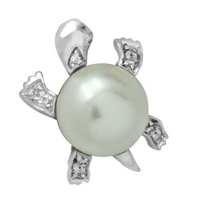 White Gold Diamond Pearl Turtle Pendant Stone
