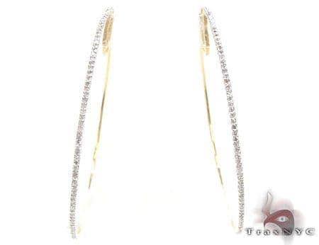 Yellow Gold Big Prong Hoops 2 Stone