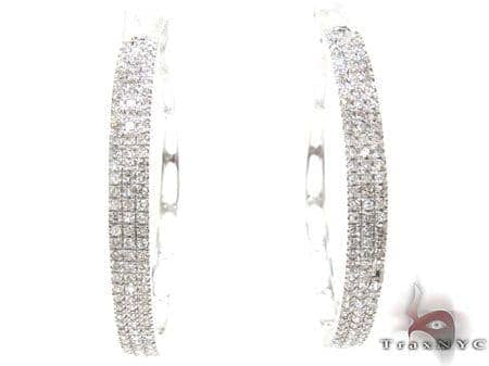 White Gold Three Row Chunky Hoops Stone