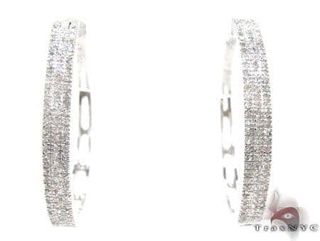 White Gold Three Row Chunky  Hoops 2 Stone