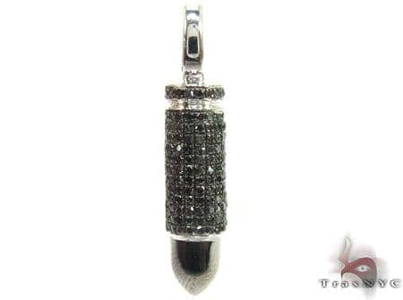 White Gold Black Bullet Pendant Metal