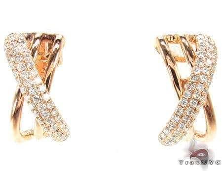 Rose Gold Twist Earrings Stone