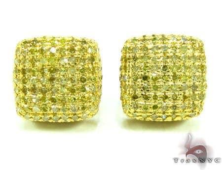 XL Canary Diamond Ice Pillow Earrings Stone