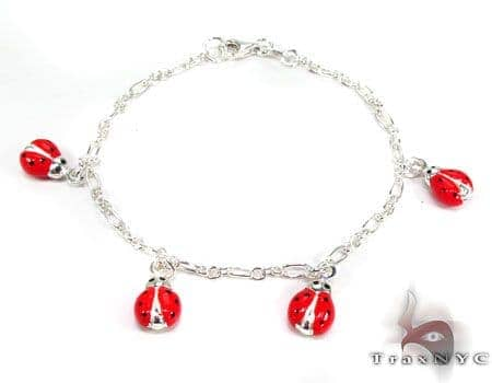 Childs Silver Lady Bug Bracelet 19595 Silver & Stainless Steel