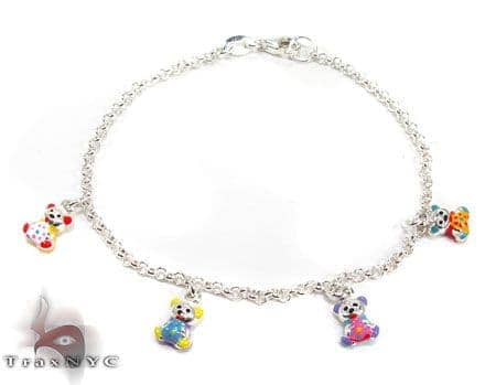 Childs Silver Enamel Teddy Bear Bracelet 19605 Silver & Stainless Steel