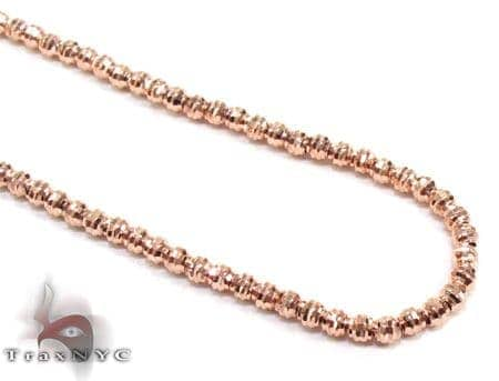 Rose Gold Moon Cut Chain 20 Inches 2mm 7.4 Grams Gold