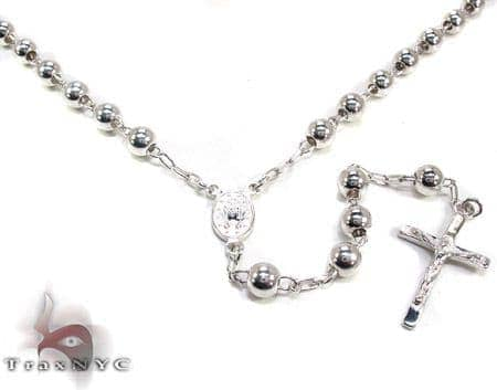 Dipped Silver Rosary 18 Inches 5mm 29.4 Grams Silver