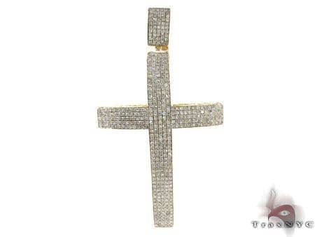 Mens Yellow Gold Pave Diamond Cross 20823 Diamond