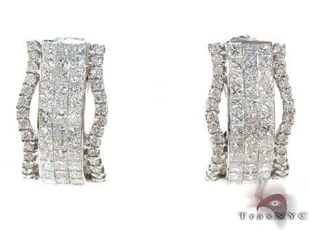 Ladies Invisible Prong Diamond Earrings 21023 Stone