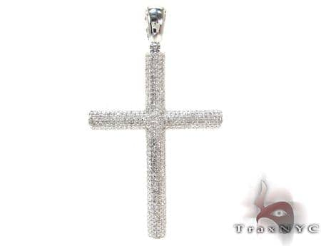Mens White Gold Diamond Cross 21114 Diamond