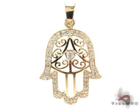 Hamsa diamond pendant 21194 ladies stone yellow gold 14k round cut hamsa diamond pendant 21194 mozeypictures