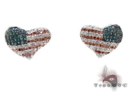 Ladies American Flag Diamond Heart Earrings 21398 Stone