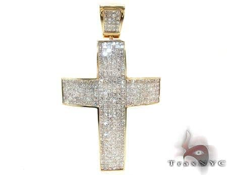 Mens Yellow Gold Diamond Cross 21427 Diamond