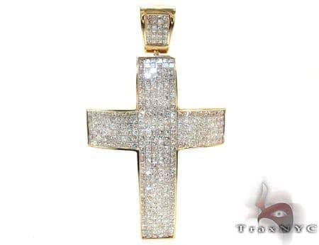 Mens Yellow Gold Diamond Cross 21427 Diamond