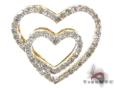 Ladies Diamond Double Heart Pendant 21491 Stone