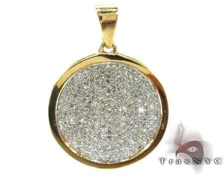 Ladies Yellow Gold Pave Diamond Pendant 21493 Stone