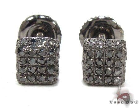 Black Cube Diamond Earrings 21700 Stone