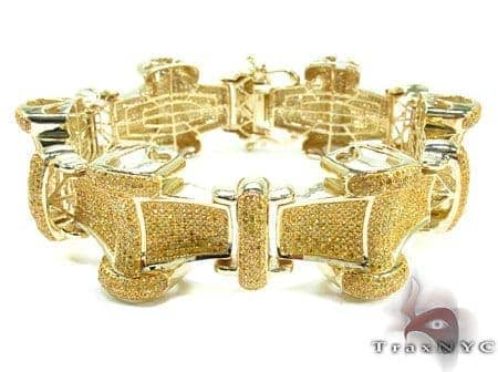 Mens Canary Color Diamond Bracelct 21709 Diamond
