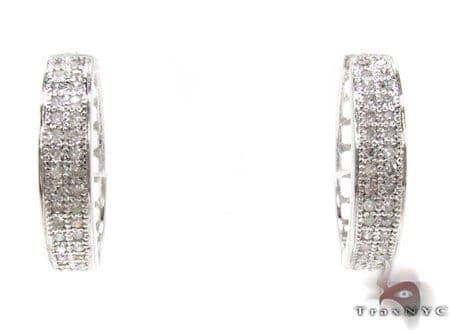 Ladies 2 Row Diamond Hoop Earrings 21741 Stone