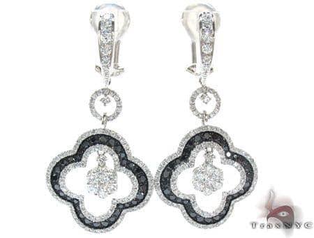 Ladies Prong Black Diamond Earrings 22157 Stone