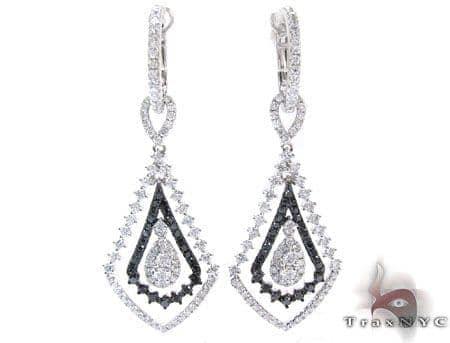 Ladies Prong Black Diamond Earrings 22175 Stone