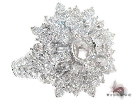 18K White Gold Prong Pave Diamond Semi Mount Ring 22327 Engagement