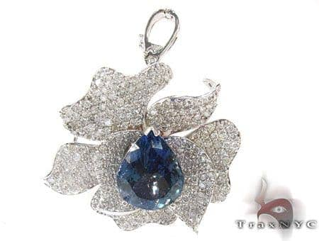 Blue Tanzanite & Diamond Flower Pendant Stone