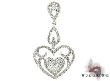 White Gold Round Princess Cut Prong Invisible Diamond Heart Pendant Stone