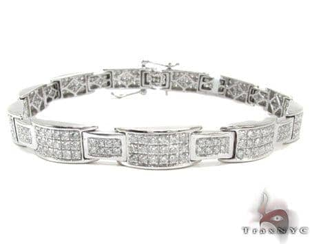 White Gold Round Cut Prong Diamond Bracelet Diamond