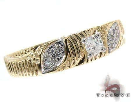 Yellow Gold Round Cut Prong Micro Pave Diamond Ring Wedding