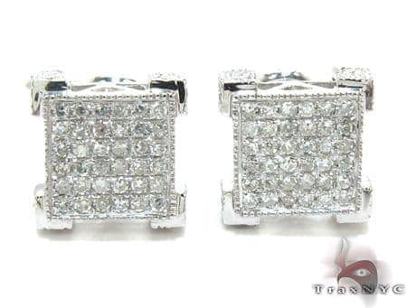 White Gold Round Cut Prong Diamond Earrings Stone