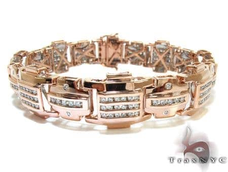 Rose Gold Round Cut Bezel Channel Bracelet Diamond