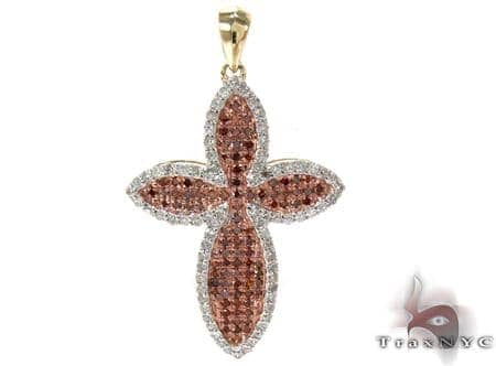 Yellow Gold Round Cut Prong Two Color Diamond Cross Style