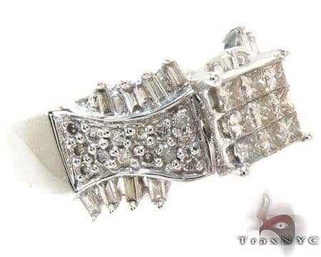 White Gold Princess Round Baguette Cut Invisible Channel Prong Diamond Ring Engagement