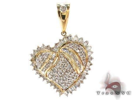 Yellow Gold Round Baguette Cut Prong Channel Bezel Diamond Heart Pendant Style