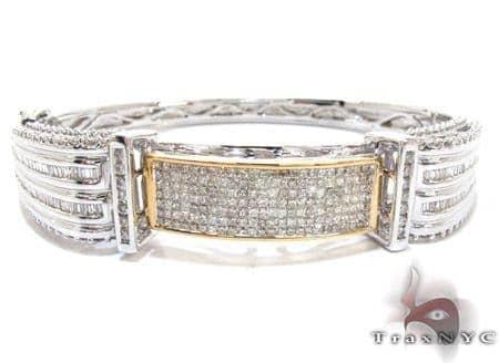 Two Tone Gold Princess Cut Prong Invisible Diamond Bangle Bracelet Diamond
