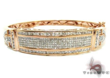 Rose Gold Round Princess Cut Prong Invisible Channel Diamond Bangle Bracelet Bangle
